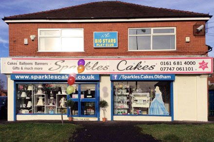Sparkles Cakes Shop Front: We are easy to get to and make our cakes in house